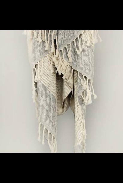 4039 - Turkish Towel - Joshua Tree Peshtemal - GREY w/ Tassels
