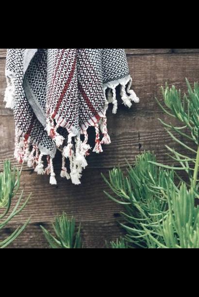 4034 - Turkish Towel - Blackrock Peshtemal - BLACK w/ RED Stripe & tassels
