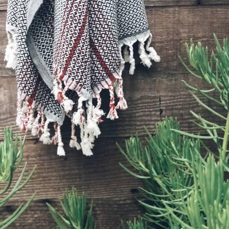 Black Rock Turkish Towel - Black w/ Red Stripe & tassels-1