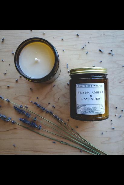 Soy Candle   Black Amber + Lavender