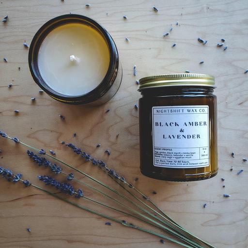 Soy Candle   Black Amber + Lavender-1