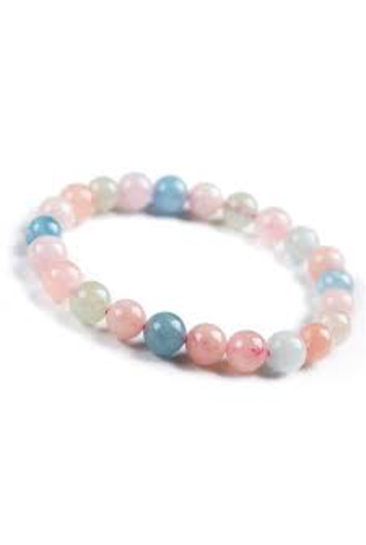 Tumbled Stone Bracelet | Morganite | 8mm