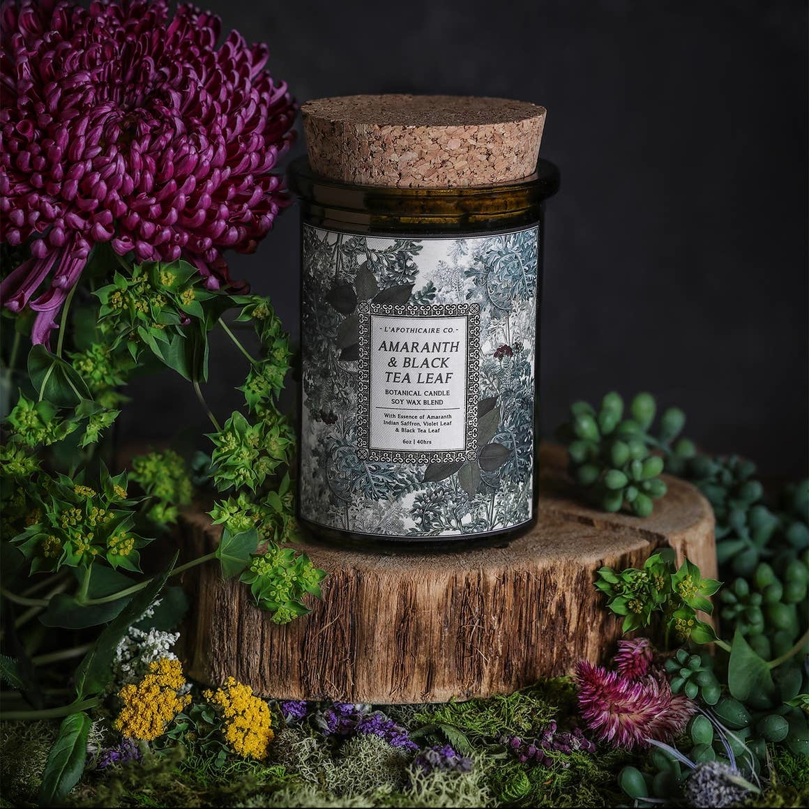 Botanica Candle | Amaranth + Black Tea Leaf-1
