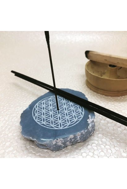 Incense Holder | Angelite Slice with Flower of Life Carving