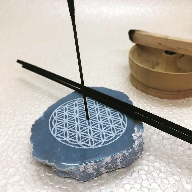 Incense Holder | Angelite Slice with Flower of Life Carving-1