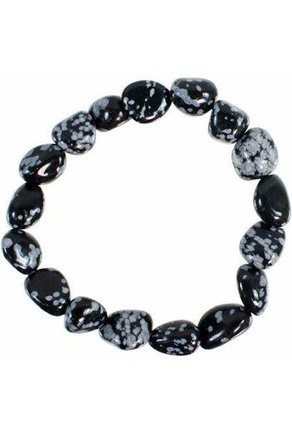 Tumbled Stone Bracelet | Snowflake Obsidian | 10mm
