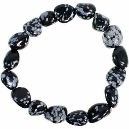 Tumbled Stone Bracelet | Snowflake Obsidian | 10mm-1