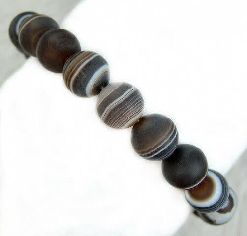 Tumbled Stone Bracelet | Banded Agate | 8mm-1
