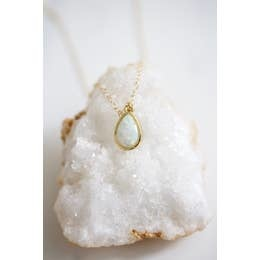 Necklace | Opal Teardrop Necklace-1