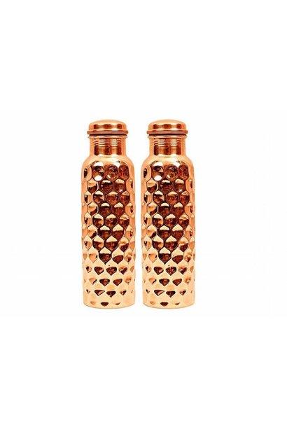 Ayurvedic Copper Water Bottle | Diamond Thumb Print Dents