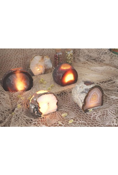 Natural Agate Candle Holder