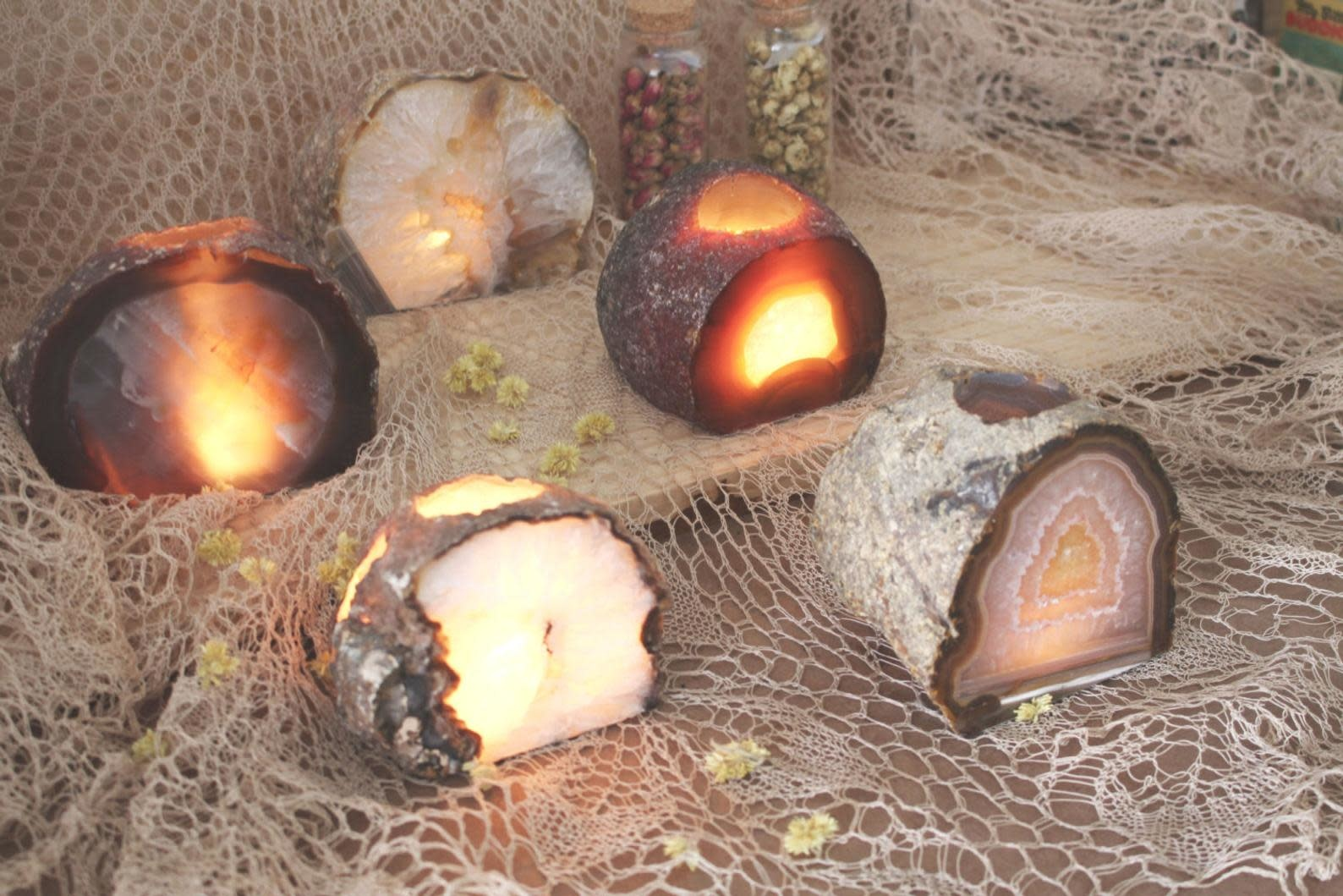 Natural Agate Candle Holder-1