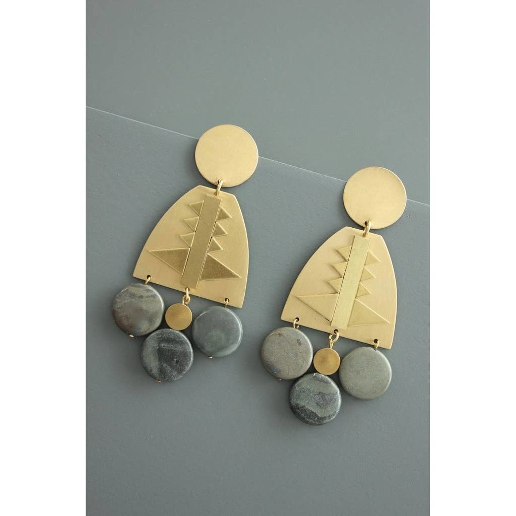 Earrings | Brass + Jasper-1