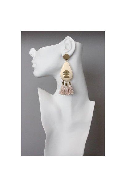 Earrings | Brass Tear Drops + Pink Silk Tassels