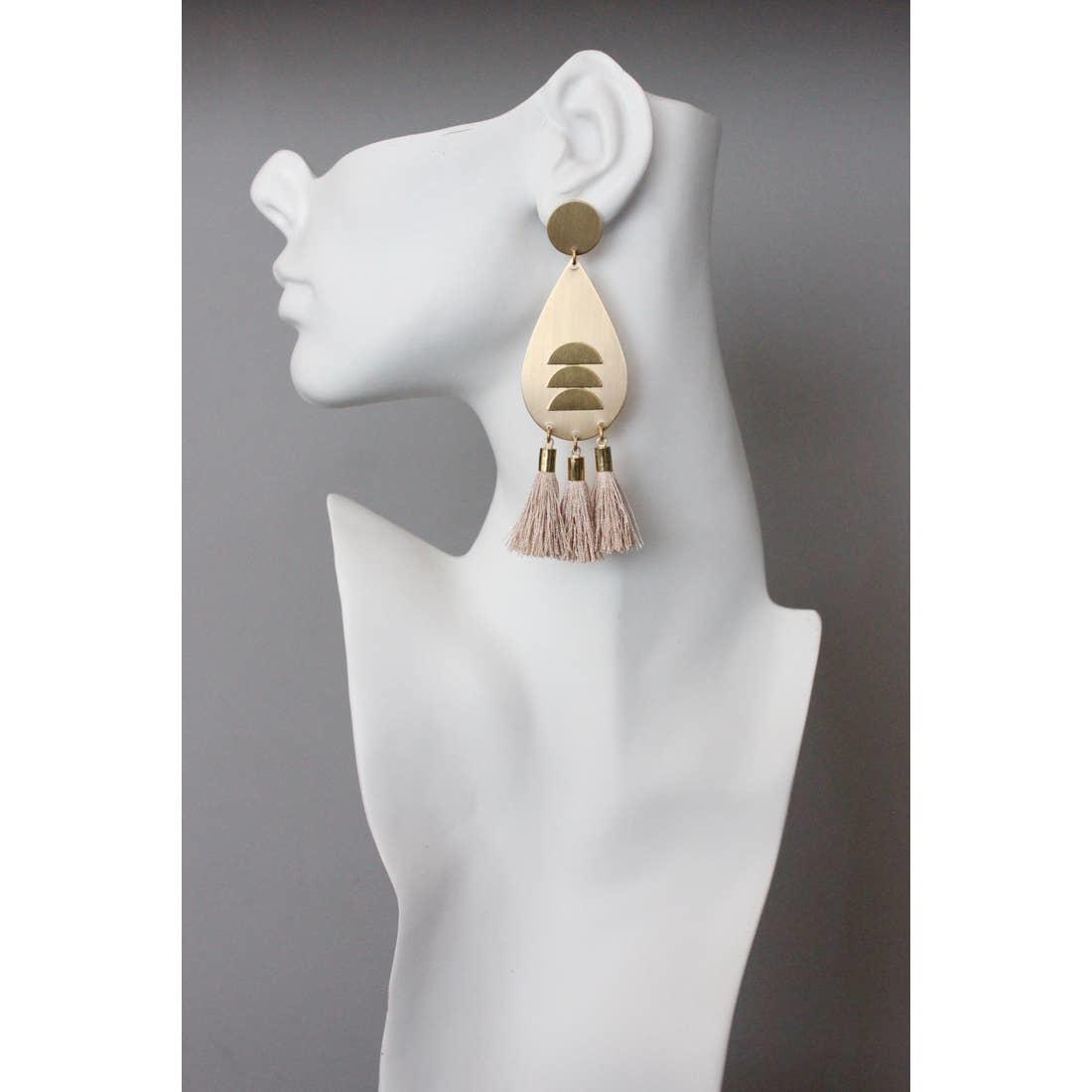 Earrings | Brass Tear Drops + Pink Silk Tassels-1