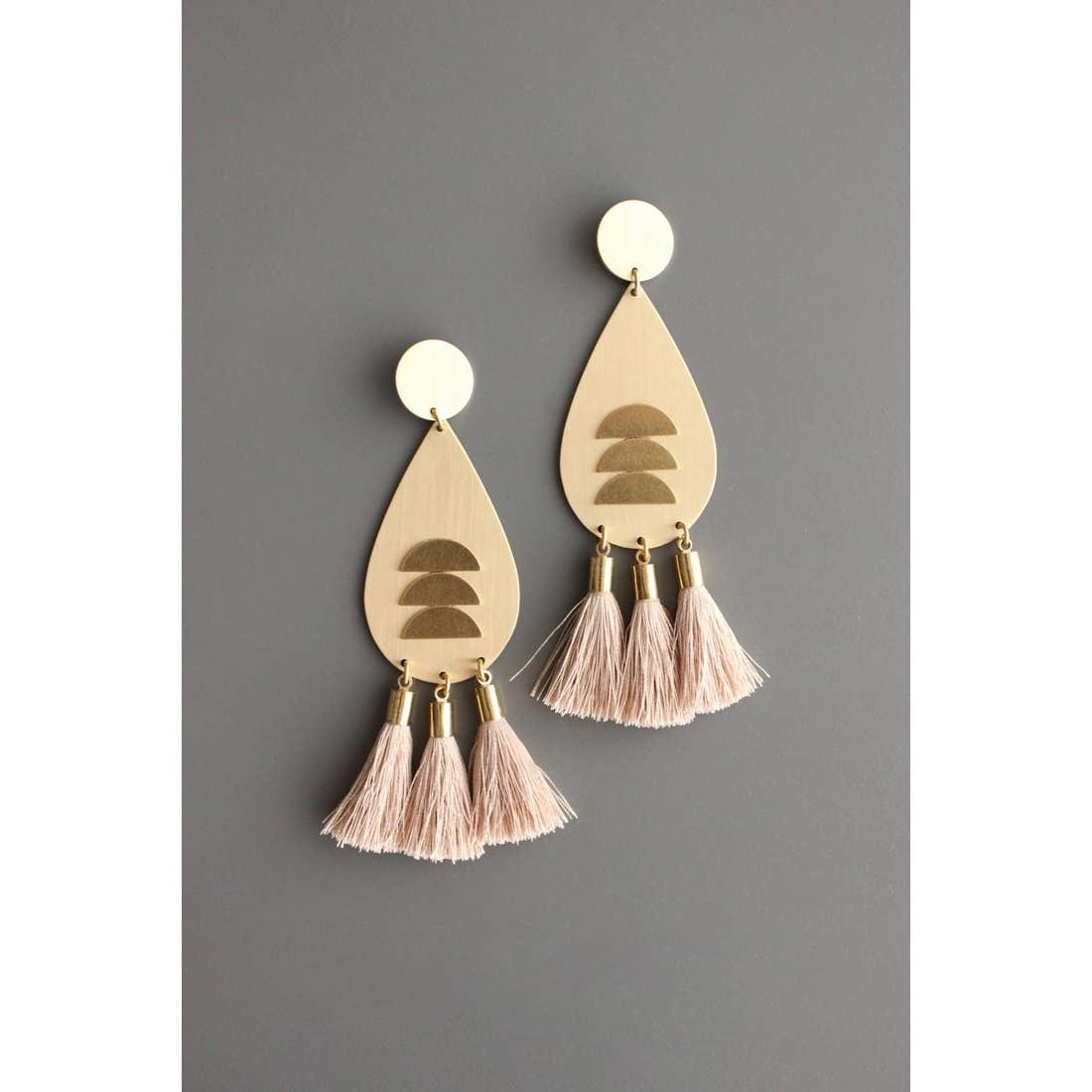 Earrings | Brass Tear Drops + Pink Silk Tassels-2