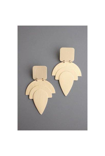 Earrings   Hand Finished Brass Shape Earrings