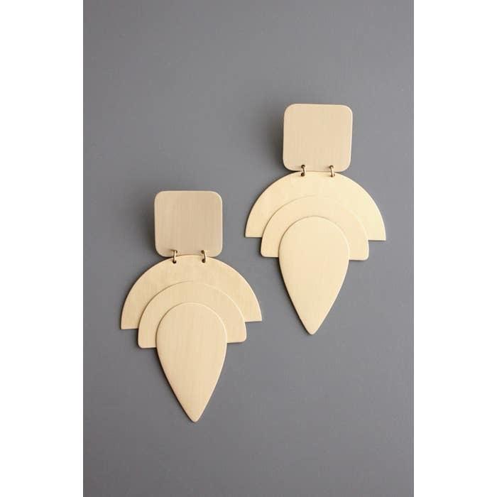 Earrings   Hand Finished Brass Shape Earrings-1
