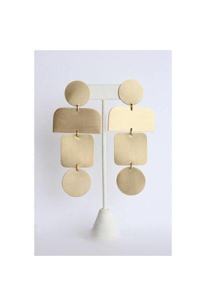 Earrings | Satin Brass Shape Earrings