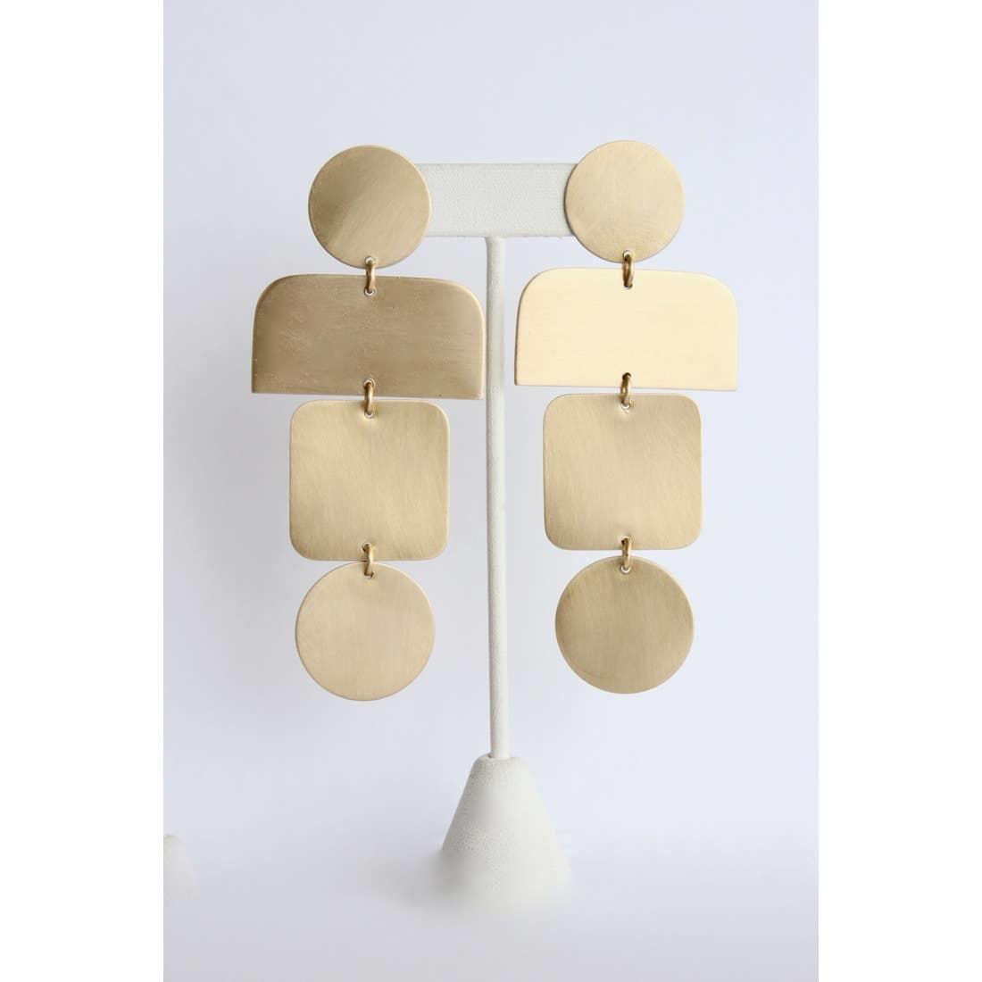 Earrings | Satin Brass Shape Earrings-1