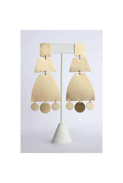 Earrings   Satin Brass Shape Earrings