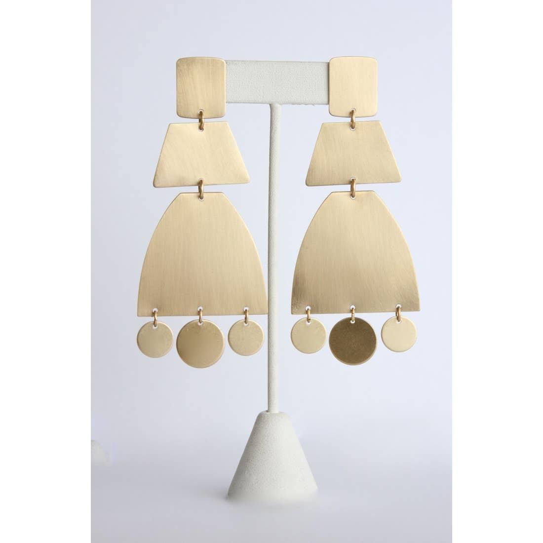 Earrings   Satin Brass Shape Earrings-1
