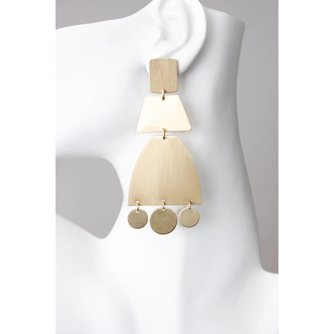 Earrings   Satin Brass Shape Earrings-2