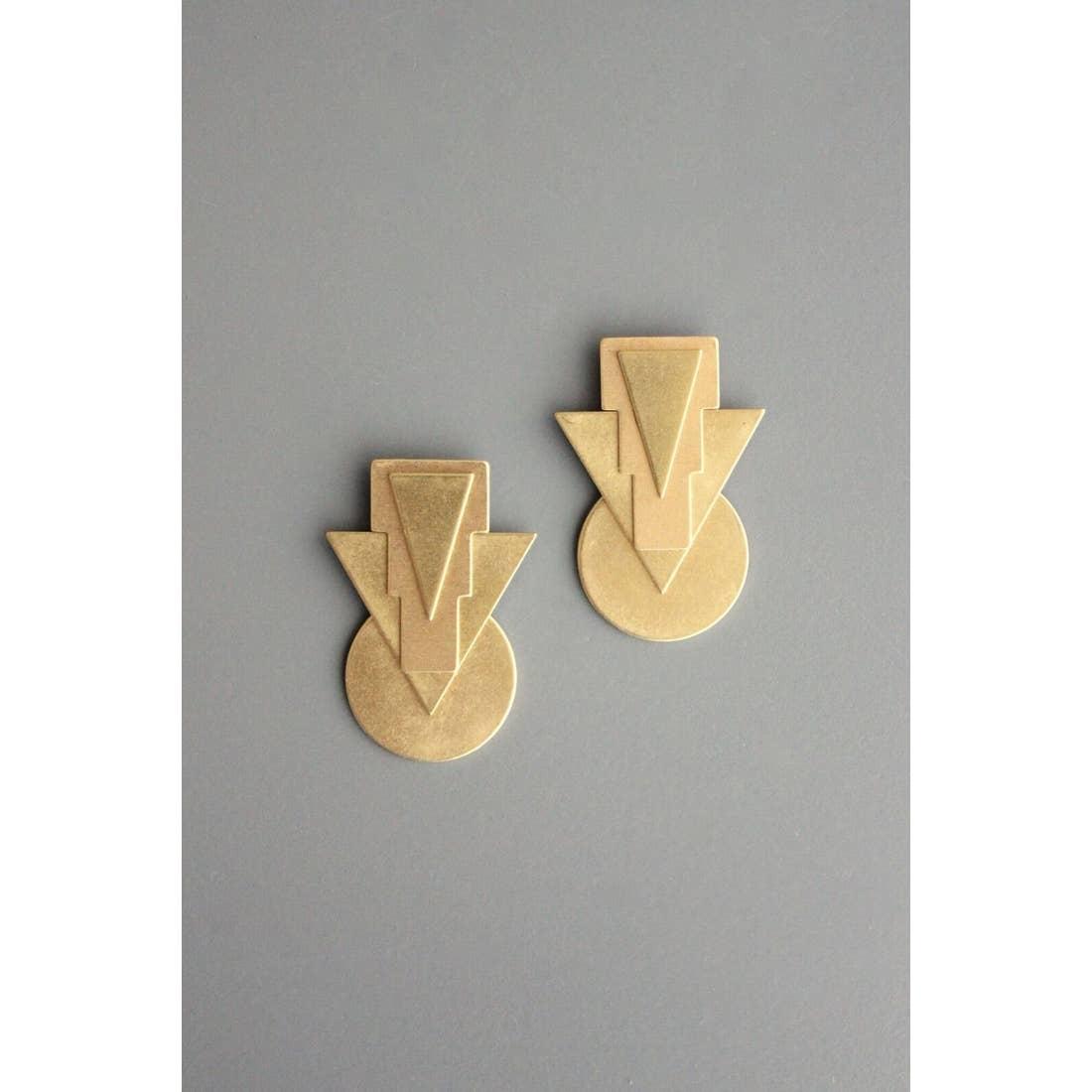 Earrings | Brass Arrows & Circles-1