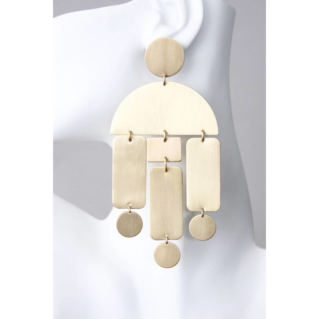 Earrings | Satin Brass Shape Dangles-1