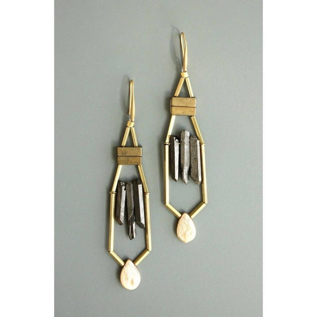 Earrings | Hematite + Quartz + Fresh Water Pearls-1