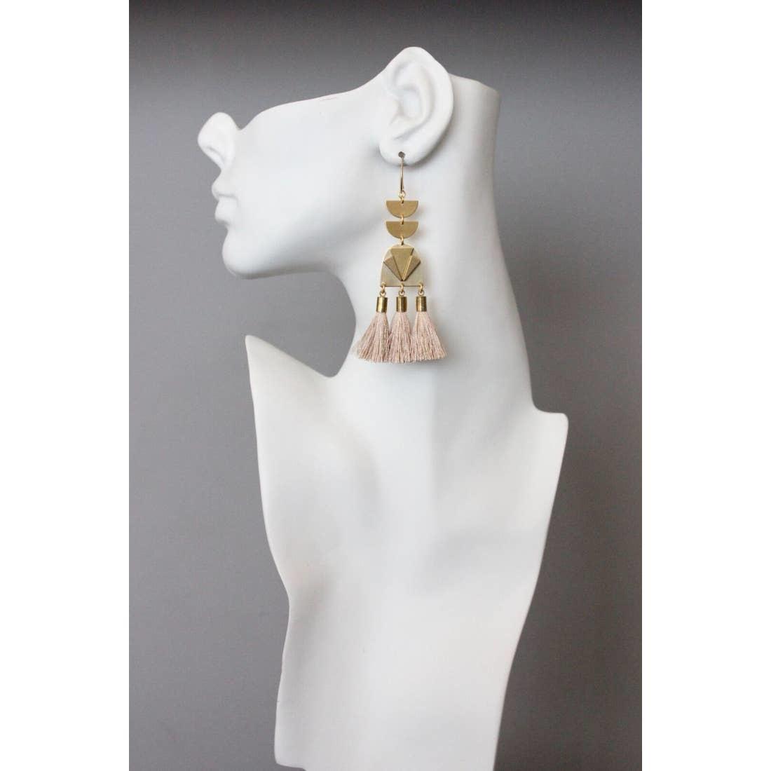 Earrings | Brass Dangles + 3 Pink Silk Tassels-1