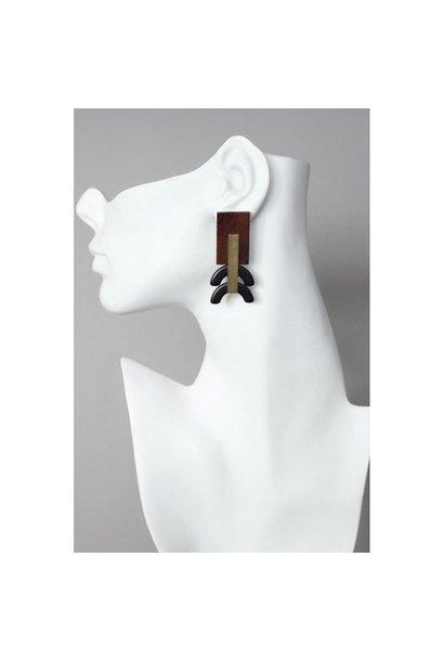Earrings | Painted Wood + Black Magnesite & Brass Rectangle