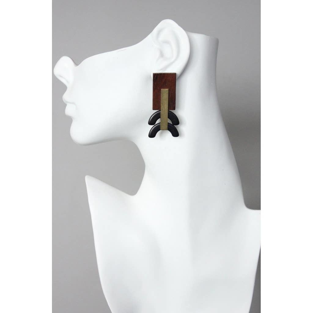 Earrings | Painted Wood + Black Magnesite & Brass Rectangle-1