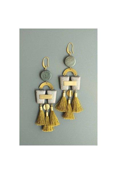 Earrings | Jasper, Magnesite, & Gold Silk Tassels