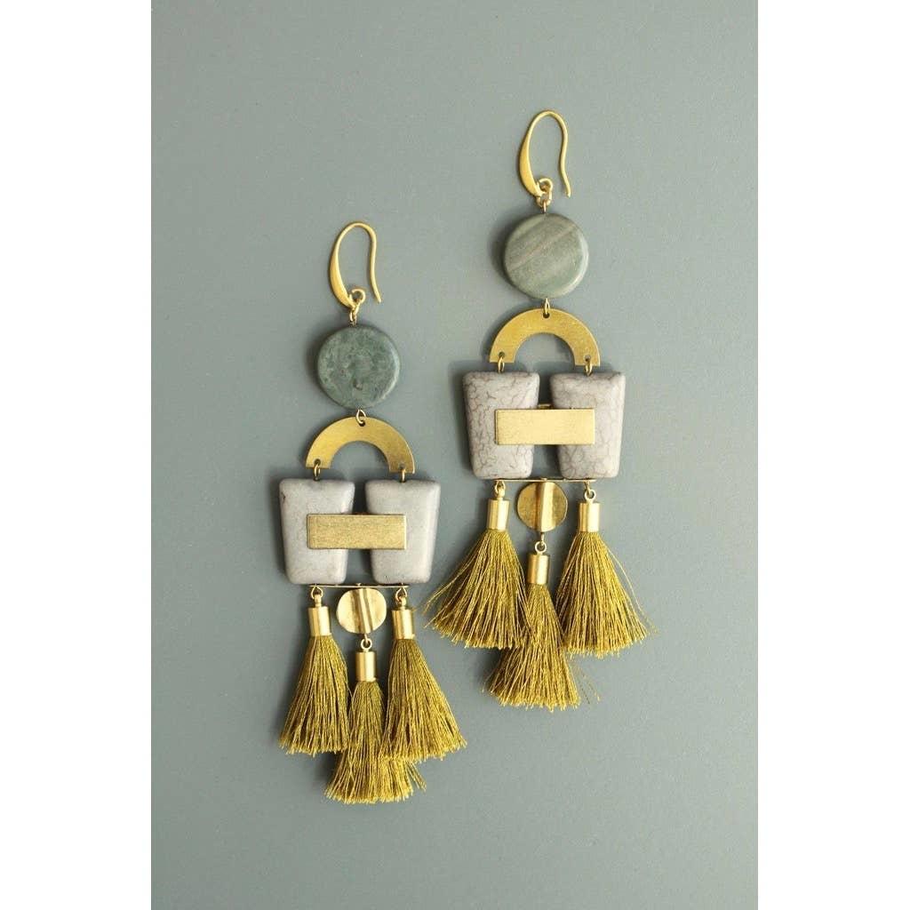 Earrings | Jasper, Magnesite, & Gold Silk Tassels-1