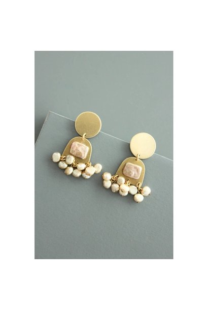 Earrings | Brass Post Earrings + Pearls