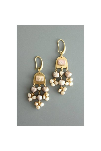 Earrings | Black, Cream & Pink Fresh Water Pearl