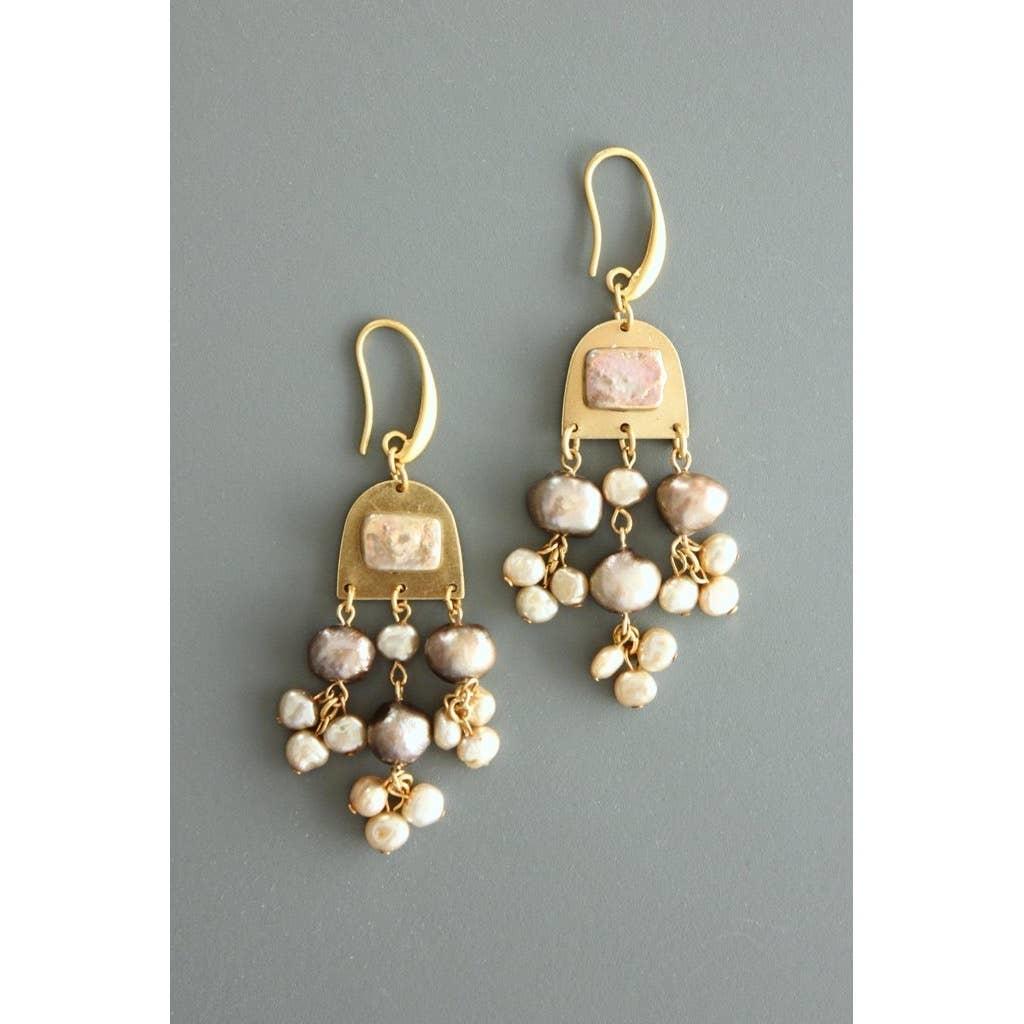 Earrings   Black, Cream & Pink Fresh Water Pearl-1