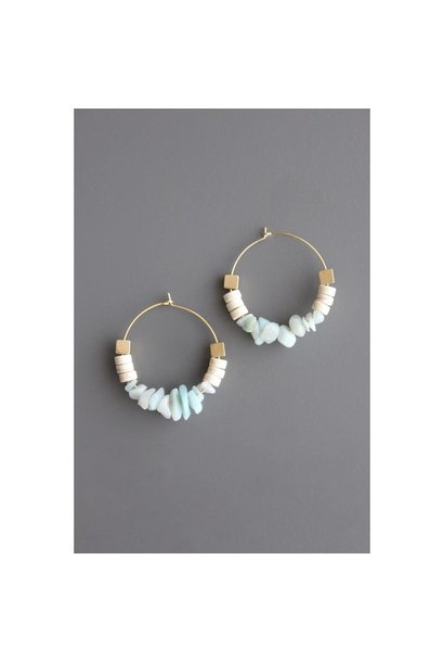 Earrings | Amazonite, Magnesite & Cubic Pyrite Hoops