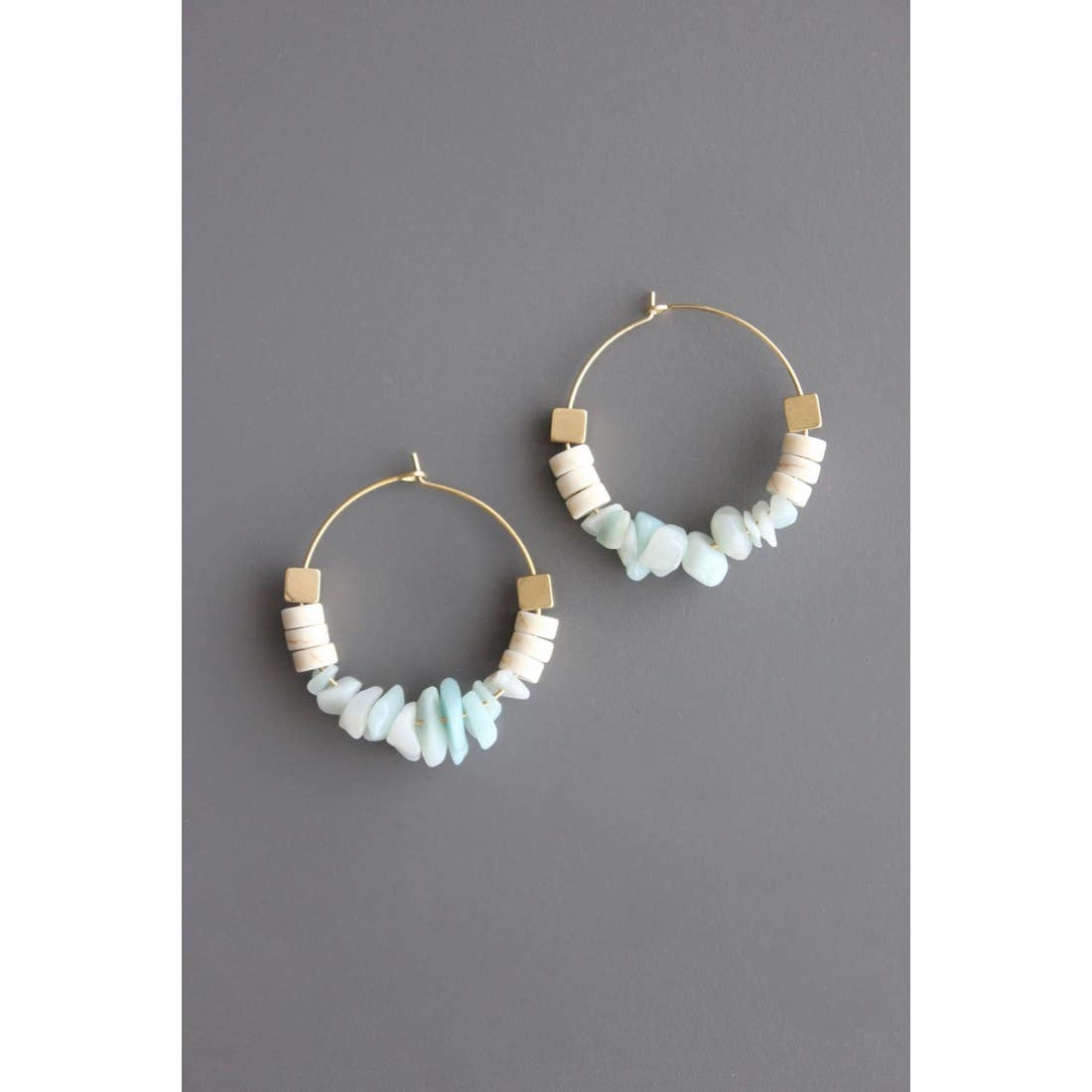 Earrings | Amazonite, Magnesite & Cubic Pyrite Hoops-1