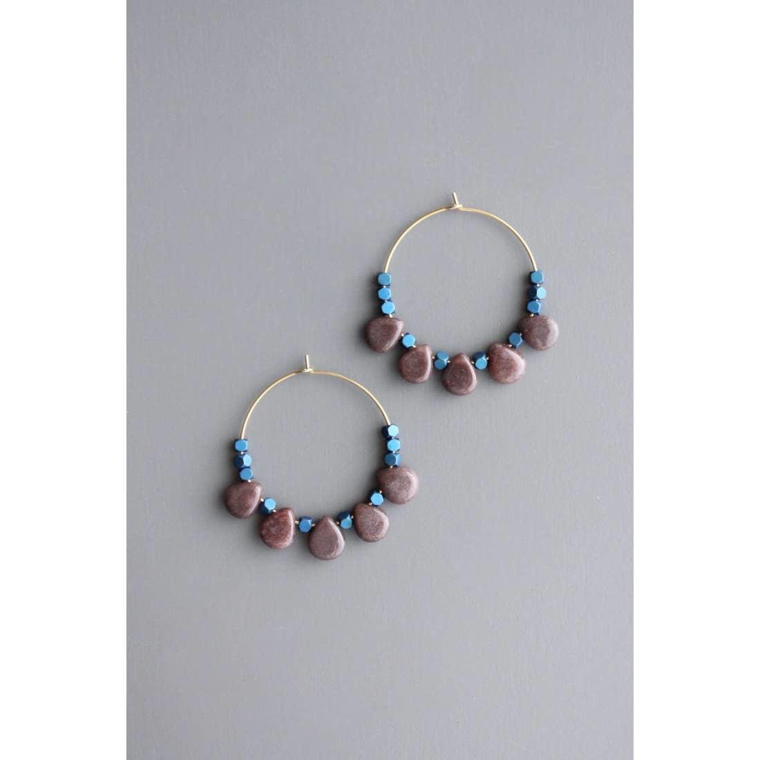 Earrings | Ruby & Hematite Hoops-1