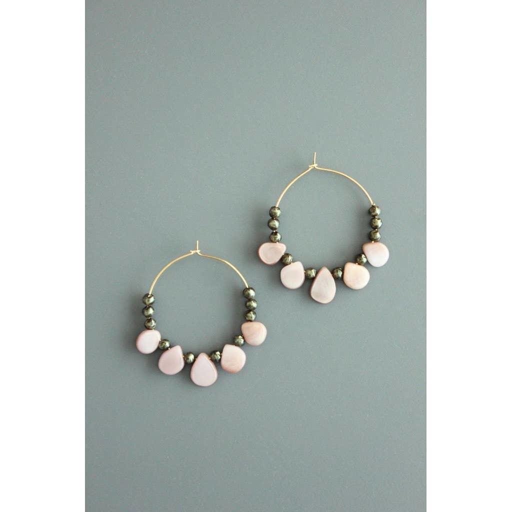 Earrings | Glass & Mother of Pearl Hoops-1