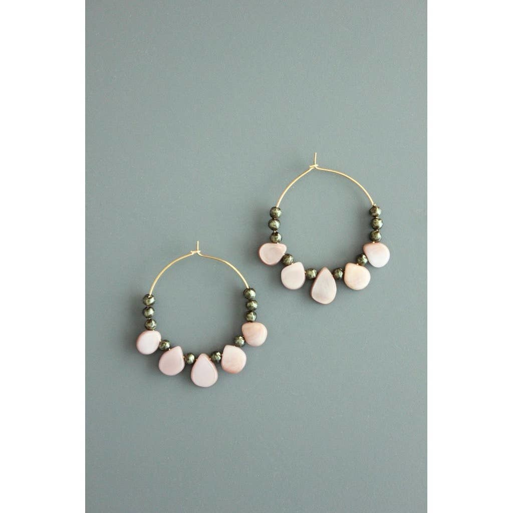 Earrings | Glass & Mother of Pearl Hoops-2