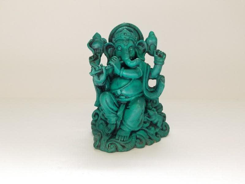 Resin Statue | Green Ganesh-1