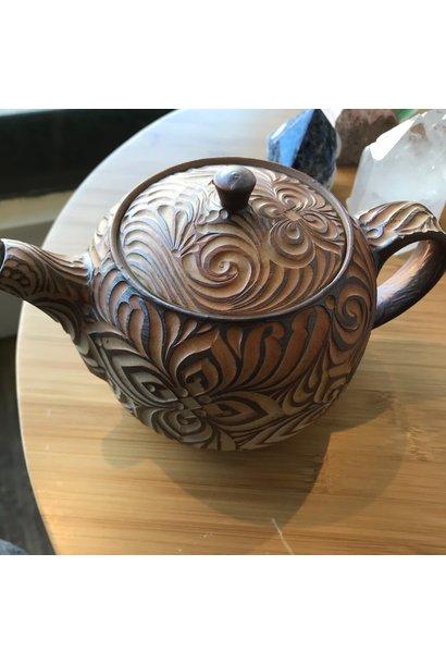 Hand Carved Tea Pot