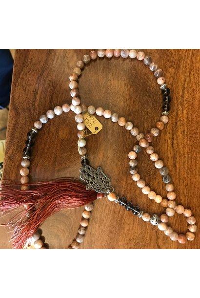 Mala Prayer Beads | Moonstone & Smoky Quartz