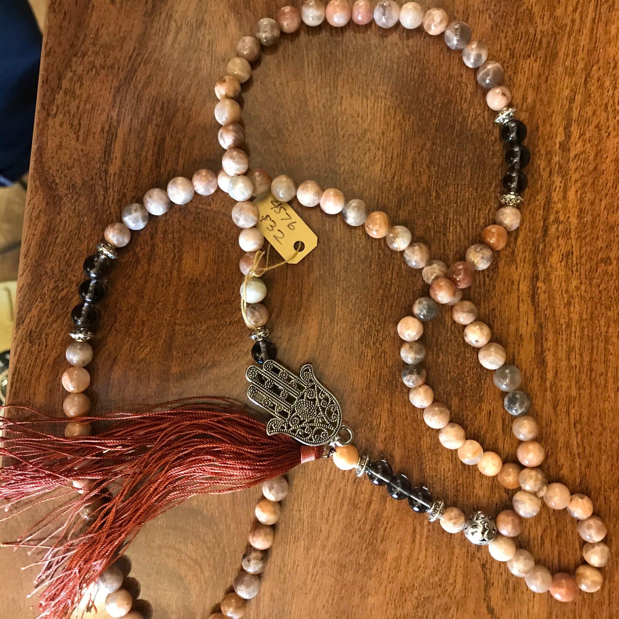 Mala Prayer Beads | Moonstone & Smoky Quartz-1