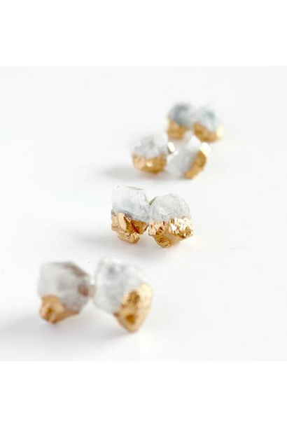 Earrings | Aquamarine Gold Dipped Crystal Studs