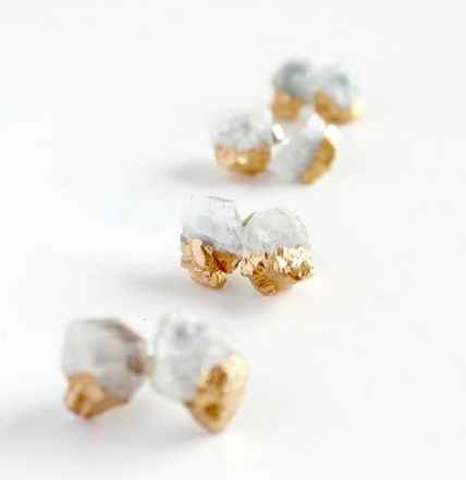 Earrings | Aquamarine Gold Dipped Crystal Studs-1