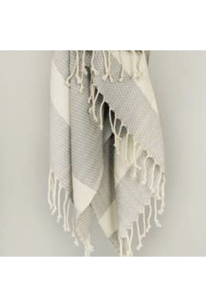 4086 - Turkish Towel - Yosemite Peshtemal - GREY w/ Tassels